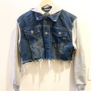 Cropped Denim Hoodie Jacket
